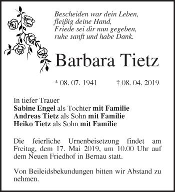 Traueranzeige Barbara Tietz