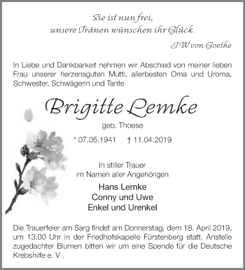 Traueranzeige Brigitte Lemke