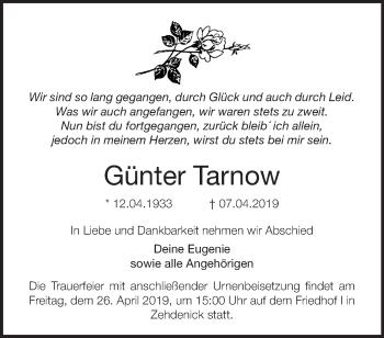 Traueranzeige Günter Tarnow