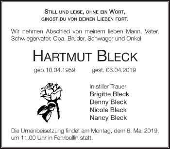 Traueranzeige Hartmut Bleck