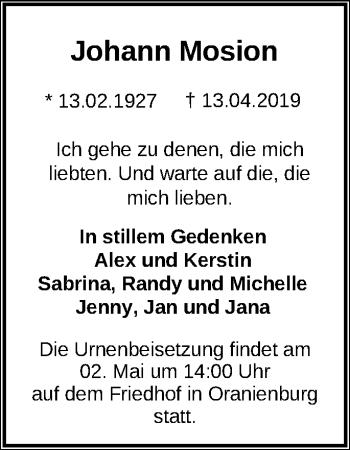 Traueranzeige Johann Mosion