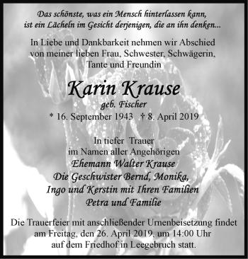 Traueranzeige Karin Krause