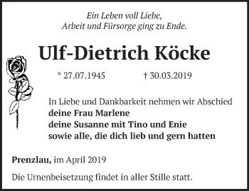 Anzeige Ulf-Dietrich Köcke