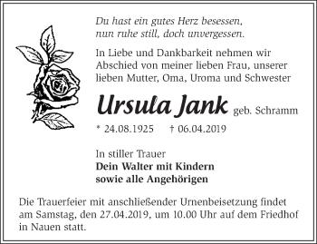 Traueranzeige Ursula Jank