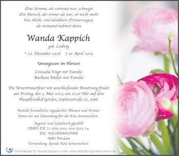 Traueranzeige Wanda Kappich