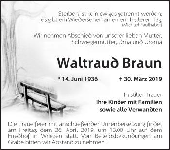 Traueranzeige Wattraub Braun