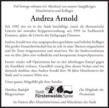 Traueranzeige Andrea Arnold