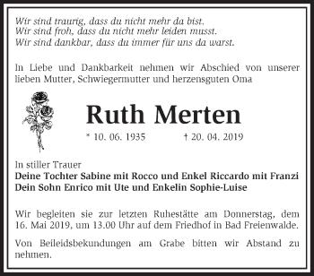 Traueranzeige Ruth Merten