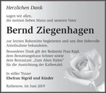 Traueranzeige Bernd Ziegenhagen