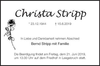 Traueranzeige Christa Stripp
