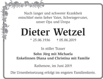Traueranzeige Dieter Wetzel