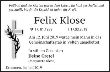 Traueranzeige Felix Klose