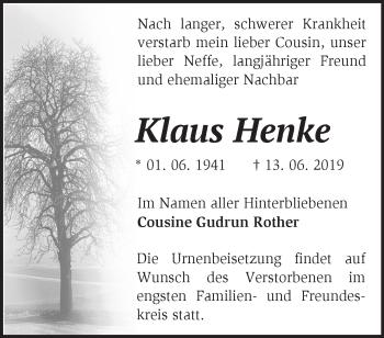 Anzeige Klaus Henke