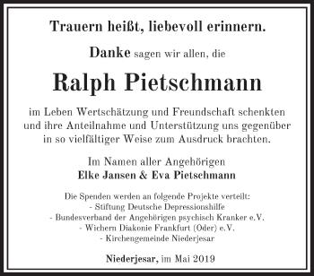 Traueranzeige Ralph Pietschmann