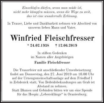 Traueranzeige Winfried Fleischfresser