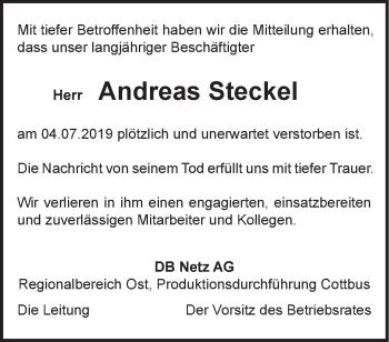 Anzeige Andreas Steckel
