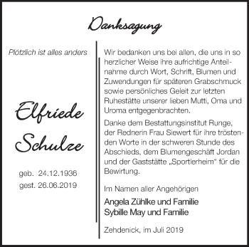 Traueranzeige Elfriede Schulz