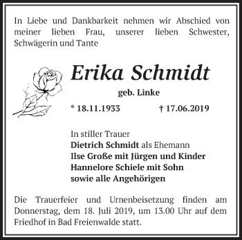 Traueranzeige Erika Schmidt