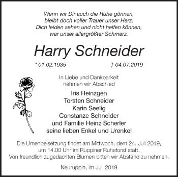 Traueranzeige Harry Schneider