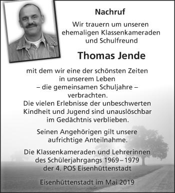 Traueranzeige Thomas Jende