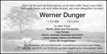 Traueranzeige Werner Dunger