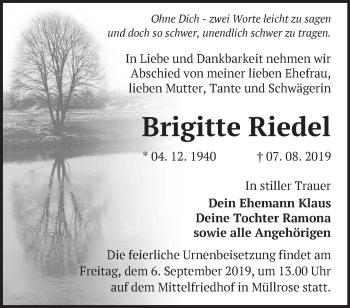 Traueranzeige Brigitte Riedel