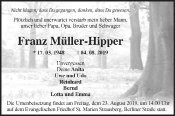 Traueranzeige Franz Müller-Hipper