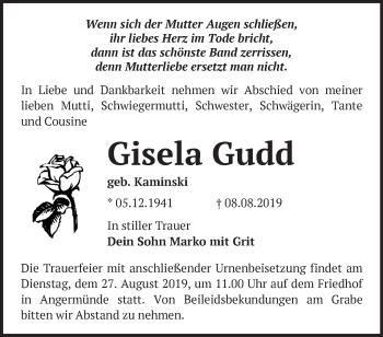 Traueranzeige Gisela Gudd