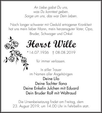 Traueranzeige Horst Wille
