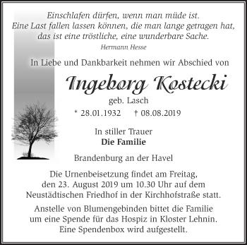 Traueranzeige Ingeborg Kostecki