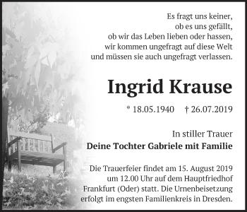 Anzeige Ingrid Krause