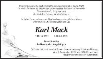 Anzeige Karl Mack