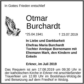 Anzeige Otmar Burchardt