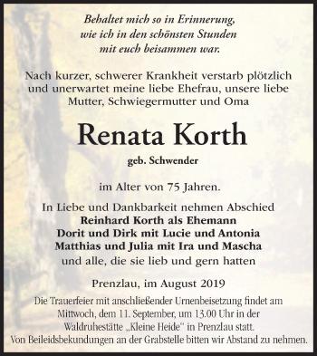 Anzeige Renata Korth