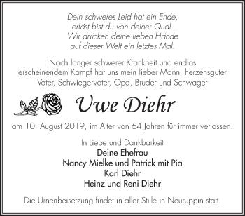 Traueranzeige Uwe Diehr