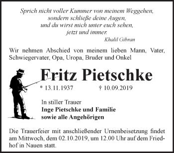 Traueranzeige Fritz Pietschke