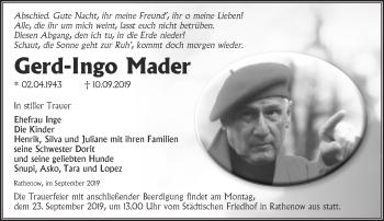 Traueranzeige Gerd-Ingo Mader