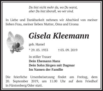 Traueranzeige Gisela Kleemann