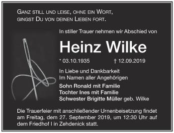 Traueranzeige Heinz Wilke