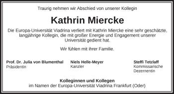 Traueranzeige Kathrin Miercke