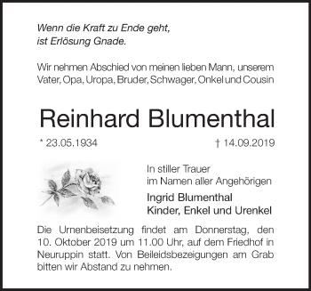 Traueranzeige Reinhard Blumenthal
