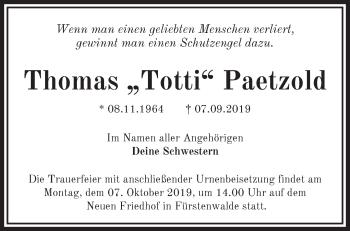 Traueranzeige Thomas Paetzold