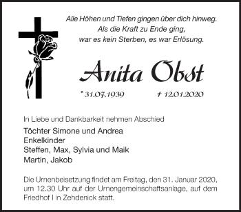 Traueranzeige Anita Obst