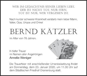 Traueranzeige Bernd Kätzler