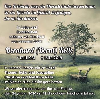 Anzeige Bernhard Kelle