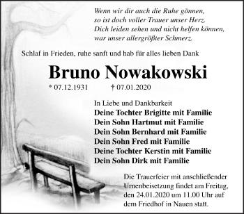 Traueranzeige Bruno Nowakowski