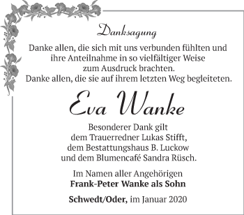 Traueranzeige Eva Wanke
