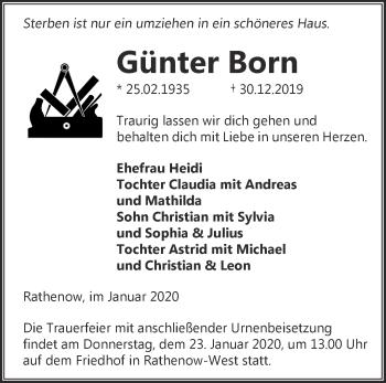 Traueranzeige Günter Born