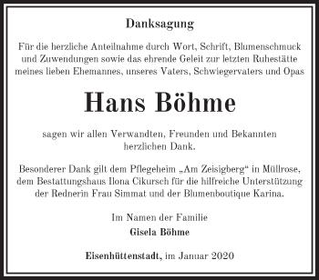 Traueranzeige Hans Böhme