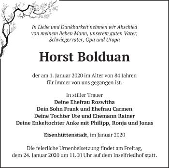 Traueranzeige Horst Bolduan